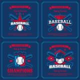 设置棒球徽章,商标,象征比赛 免版税库存图片