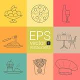 设置概述,平面,等高,传染媒介象平面的线在餐馆,承包餐食者,承办酒席,饭食, ea的题材的 库存照片