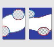 设置模板页设计飞行物、传单、飞行物、介绍或者盖子 抽象背景蓝色和红色与文本的空间 库存图片