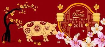 设置横幅愉快的农历新年2019年,猪的年 月球新年度 汉字卑鄙新年快乐