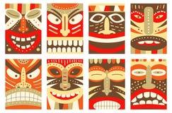 设置横幅,背景,飞行物,与tiki部族面具的招贴 库存例证