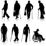 设置残疾人ilhouette白色背景的 也corel凹道例证向量 免版税库存图片