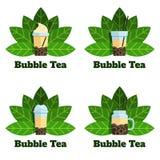 设置泡影茶徽章导航平的标签 库存例证