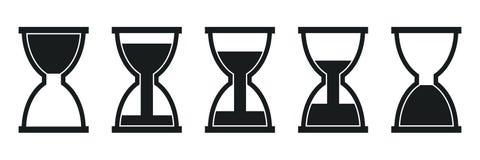 设置滴漏象、sandglass定时器、时钟平的象应用程序的和网站–传染媒介 库存例证