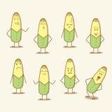 设置漫画人物玉米 库存例证