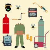 设置焊接器材 库存例证
