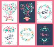 设置爱和浪漫卡片 免版税库存照片