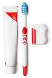 设置牙膏。在白色背景 图库摄影