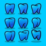 设置牙齿现代商标传染媒介 库存例证