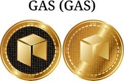 设置物理金黄硬币气体(气体),数字cryptocurrency 供气(气体)象集合 向量例证