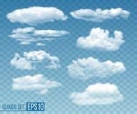 设置现实透明cloudsin天空蔚蓝 向量例证