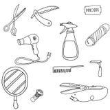 设置理发店工具线艺术象在白色背景的传染媒介例证 库存例证