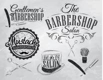 设置理发店标志。煤炭。 图库摄影