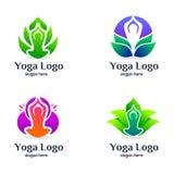 设置瑜伽和秀丽商标设计 向量例证