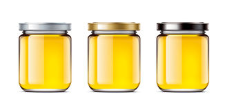 设置瓶子蜂蜜 库存例证