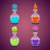 设置用不同的魔药3的瓶 免版税图库摄影