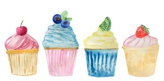 设置用莓果和辣草本的不同的装饰品的水彩杯形蛋糕 设计的光栅例证 库存例证