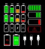 设置电池显示象和充电器连接器 向量例证