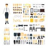 设置男生建设者字符成套工具集合 男性身体零件、制服、袋子、后面和前面面孔,发型,礼服,衣裳 库存图片