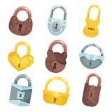 设置的古色古香的老挂锁,古铜,金黄和银色挂锁传染媒介例证 库存照片