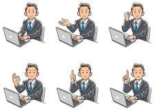 设置的商人的六种类型转动他的面孔对前面,当操作个人计算机时 皇族释放例证