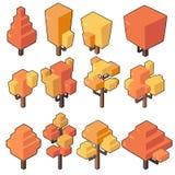 设置秋天树的传染媒介例证在最小的等量设计的 库存照片