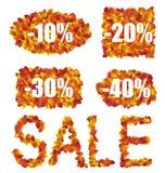 设置秋天销售折扣被做在五颜六色的叶子 库存例证