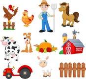 设置种田与农夫、拖拉机、谷仓、动物、水果和蔬菜的动画片 向量例证