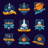 设置空间和宇航员徽章 免版税库存图片