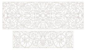 设置等高与抽象漩涡和花,水平的取向的彩色玻璃例证 皇族释放例证