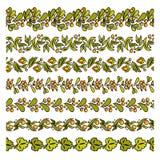 设置简单的花卉元素 库存例证