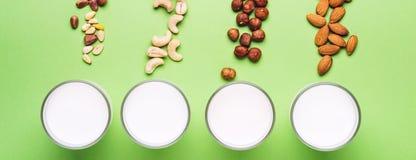 设置素食主义者非日志牛奶 医疗保健、饮食和营养概念 横幅格式 库存图片