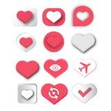 设置红心爱和浪漫卡片设计的标志象 免版税库存图片