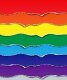 设置纸被撕毁的小条  彩虹的设计七颜色的元素 免版税库存照片