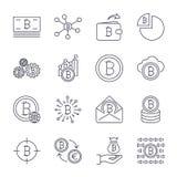 设置线冲程传染媒介bitcoin和cryptocurrency象 采矿,硬币,镐,金子,金钱,交换 象设置了为 库存例证