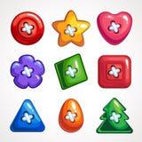 设置缝合的逗人喜爱的明亮的五颜六色的传染媒介按钮 库存例证