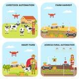 设置聪明的农厂背景 农业和家畜自动化 向量例证