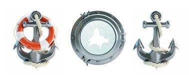设置船锚,救生圈,打破的舷窗 图库摄影