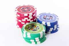 设置色的赌博的筹码 库存图片
