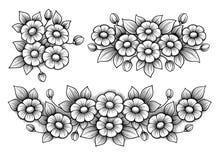 设置花雏菊束葡萄酒维多利亚女王时代的框架边界花饰被刻记的减速火箭的纹身花刺黑白书法传染媒介 免版税库存图片