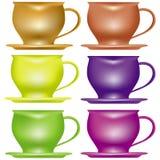 设置茶杯 库存例证
