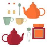 设置茶 也corel凹道例证向量 图库摄影