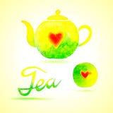 设置茶 在水彩绘的设计元素 库存照片