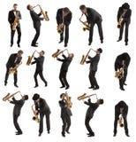 设置萨克斯管吹奏者 免版税库存照片