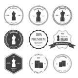 设置葡萄酒减速火箭的时装模特购物徽章 免版税库存照片