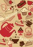 设置蛋糕和甜点,例证 免版税库存照片