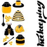 设置蜂窝,蜂箱,蜂, 向量例证