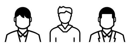 设置被概述的男性具体化包括:正式和不拘形式的形状 线艺术 库存例证