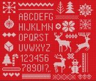 设置被编织的字体、元素和边界圣诞节的,新年或者冬天设计 丑恶的毛线衣样式 扫描的毛线衣装饰品 向量例证