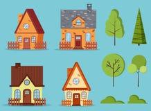 设置被隔绝的农村农厂红砖和黄色房子有顶楼的,烟囱,篱芭 向量例证